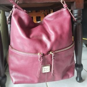 Dooney Bourke LEATHER large tote DEEP RED dillon